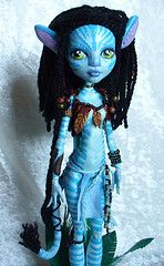 Monster High OOAK Neytiri (redmermaidwerewolf) Tags: painting doll ooak avatar clay custom pandora navi mattel sculpting repaint lagoona lagoonablue neytiri monsterhigh