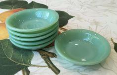 "6 Fire King Jadeite Restaurant Ware RW 4.5"" Berry Side Bowls ~ Jadite Green"