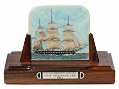 """"""" The Celebrated Frigate: U.S.S. Chesapeake 1813"""" Color scrimshaw on ancient mammoth ivory by Joel Cowan. Long recognized as the most precise ship scrimshander ever, Cowan's work continues to impress everyone. His stipple work is in a class by itself. As far as his lettering, no one comes close. Cowan works directly from the actual plans of the ship and is completely accurate in his depiction.   Size: 5 3/4""""W x 3""""D x 3 7/8""""H Price: $3,700.00 -- on ScrimshawGallery.com #scrimshaw"""