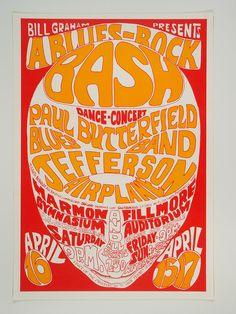 Bill Graham Presents. Jefferson Airplane, etc poster. Art by Wes Wilson.
