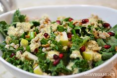 CONVEGANENCE.COM KALE & FARRO SALAD WITH LEMON & Chia dressing 1Cfarro (or quinoa for gluten free),rinsed and drained Juicelemon  3TEVOO 4 cloves garlic ½ shallot 1tspdijonmustard 2tbspnutritional yeast ¼tspfreshly ground black pepper 2tbspchia seeds ¼C chopped green onion ½C raw pumpkin seeds ¼C pomegranate seeds 1 pear, cored and diced 4-5 C kale, roughly chopped farro2CwaterEVOOsaltboilsimmer20 Pureelemon juiceEVOOgarlicshallotdijon yeast. Mix in chia sitseedsexpand. sautepumpkinseedsw/evoo5