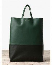 Celine Green Bi-color Cabas Tote Bag - Winter 2013 #celine #handbags