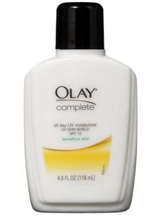 """Olay Complete All Day UV Moisturizer Sensitive Skin SPF 15.   A gentle, oil-free facial moisturizer. """"This daily moisturizer is lightweight enough for even sensitive skin, but also includes UVA/UVB protection, so it's great for women who don't always remember to apply a separate sunscreen,"""" says dermatologist Amy B. Lewis.  Allure"""
