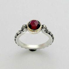 Nature ring silver engagement ring garnet ring by artisanlook