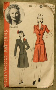 Hollywood Patterns 815 Vintage 1940s Jacket Skirt Suit Sewing Pattern Size 12 Bust 30. $12.00, via Etsy.