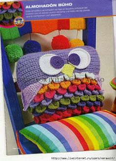 Crochet Knitting Handicraft: Knit-owl pillow
