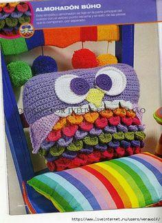 Crochet Knitting Handicraft: Knit-owl pillow
