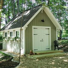 Printable plans and a materials list show you how to build a shed that's dollar-savvy and full of storage. Keep reading to learn more. #sheddesigns