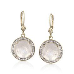 Experience the formal elegance of these opal and diamond drop earrings. Round moonstones are showcased with sparkling, near-colorless diamond rounds. Leverbacks, 18kt yellow gold earrings.