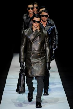 Men's leather coats by Emporio Armani