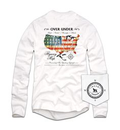 The Flyway Map Long Sleeve Tee features the four North American flyways: the Atlantic, Mississippi, Central, & Pacific.