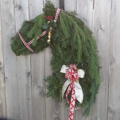 Horse Shaped Christmas Wreath - so unique and sweet!