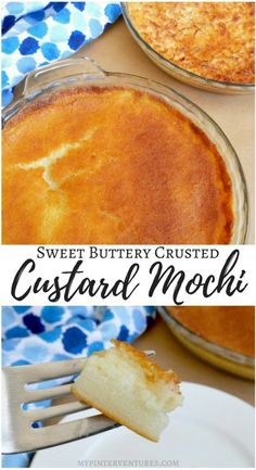 Sweet Buttery Crusted Custard Mochi - a layer of soft custard and chewy mochi. A blend of soft custard and mochi with a sweet and crunchy buttery crust. Hawaiian Desserts, Asian Desserts, Just Desserts, Delicious Desserts, Yummy Food, Japanese Desserts, Healthy Food, Hawaiian Dishes, Hawaiian Recipes