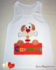 By Ro: Camiseta de Patchwork: PERRITO CON CARTEL PARA CARMEN