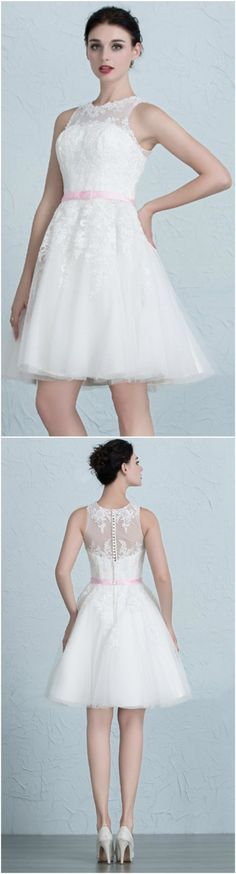 Cute A-Line Scoop Neck Short Tulle Wedding Dress With Appliques Lace. Perfect for Summer Outdoor Wedding, City Hall Wedding and Beach Wedding. Custom made-to-order Wedding dress by GemGrace. Multiple colors and all sizes available. Additional photos also available upon request.