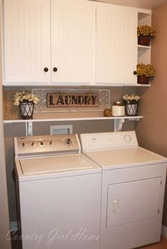 Laundry Room Shelf. This is close to the dimensions of what our laundry room looks like. Similar idea to what I want. I want a butchers black folding counter overtop of the washer and dryer too