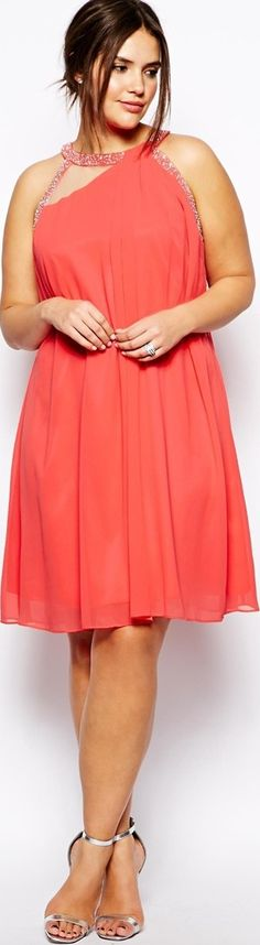 plus size women's fashion coral orange evening party dress short -   http://www.boomerinas.com/2014/08/13/summer-dresses-and-tops-in-plus-sizes-2014-styles/