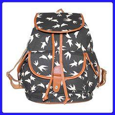 6b3075d885f8 MOSUNX® Women Swallow Canvas Travel Rucksack Hobo Satchel Bookbags School  Bag (Black) -