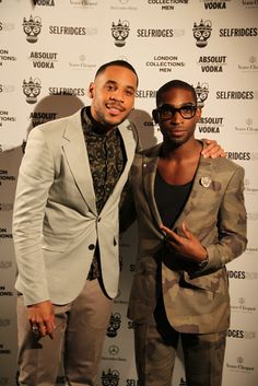 Rooftop party for London Collections: Men | Selfridges.com Reggie Yates and Tinie Tempah #ManAboutTown