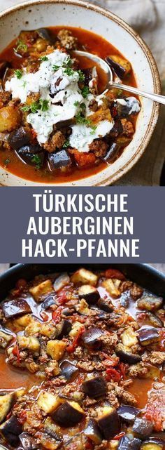 Türkische Auberginen-Hackfleisch-Pfanne mit knusprigem Hack, Auberginen, einer dicken Tomatensauce und Naturjoghurt. Dieses einfache Rezept lieben alle! - Kochkarussell.com