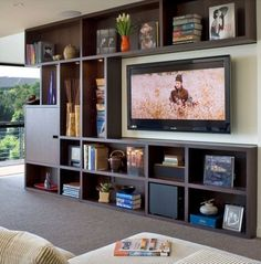 This living room shows how a console made out of cubicle-style shelving is done right. Verizon #Techoration Contest Entry