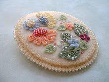 colourful felt & beads brooch