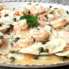 Lobster Ravioli with Shrimp Garlic Caper Sauce