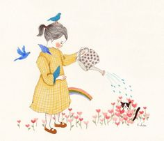 71 images about Cat and Me Illustration on We Heart It Flower Images, Cute Images, Anime Art Girl, Children's Book Illustration, Whimsical Art, Cute Drawings, Cat Art, Illustrators, Artwork