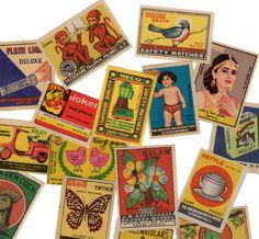 25pcs INDIAN MATCHBOX STICKERS