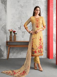 KARMA D.NO.-A-410 RATE : 1395 - KARMA TRENDZ AMAIRA A-405 TO A-411 SERIES  DESIGNER EMBROIDERED PARTY WEAR & FESTIVE LOOK DESIGNER COTTON SATIN STRAIGHT SUIT BOLLYWOOD PARTY WEAR AT WHOLESALE PRICE AT DSTYLE ICON FASHION CONTACT: +917698955723 - DStyle Icon Fashion