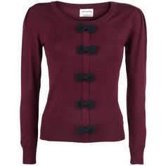 - Crew neck - Decorative bows - Knit fabric  This Privilege Jumper Sweatshirt from Banned is designed as a stylish cardigan. The cute bows on the front, which seem to form the closure, provide a stylish touch. These black bows also create a nice contrast with the rest of the sweatshirt, which is bordeaux red. The material of the sweatshirt is all high-quality knitwear, and it sports a classic crew neck.