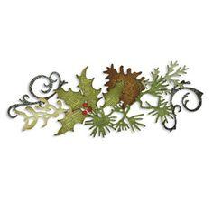 Sizzix Sizzlits Decorative Strip Die - Festive Greenery - Tim Holtz  (pine cone, holly leaf berry, pine sprig, flourish,