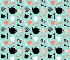 strawberry mint tea time fabric by oleynikka on Spoonflower - custom fabric