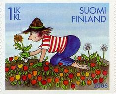 Weeding flower garden, stamp from Finland.  [dandelion, Taraxacum officinale, Asteraceae]