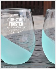 Dip-Dyed Frosted Tumblers - Dress up your plain glasses with this fun DIY project!
