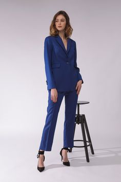 122cf2f70457f8 Blue wool business attire suit Wool business blazer Wool long blazer Womens  pant suit Wool blue pants Wool suit jacket Pink pure silk top