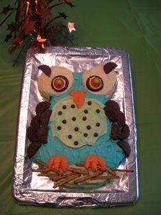 A fun owl cake my daughter and I made for her 15th bday.