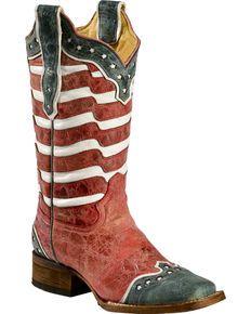 61bb852e7dc1 Corral American Flag Distressed Cowgirl Boots - Square Toe