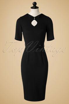 739135101e0a50 50s Sophia Pencil Dress in Black. Rockabilly ModeRockabilly  StijlRuitvormenHalve MouwenNacht UitRetro VintageKragenKnopenPin Up