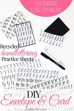 Use those hand lettering practice sheets and turn them into DIY mini envelopes and cards. You'll find a FREE template to handmade this frugal and fun recycling project on the blog, same as a FREE SVG cutting file if you'd rather work with your cutting machine. Click to get those freebies now! #craftifymylove #freesvgcuttingfile #freetemplate #DIYenvelope #DIYcard #recyclingproject #upcycling #handlettering #handletteringpracticesheets via @CML_Habiba