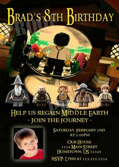 Personalized Lego Lord of the Rings Hobbit Invitations - DIY PRINTABLE Available