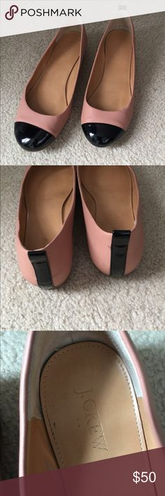 Two tone J. Crew ballet flats Almost new. I wore 2-3 times and they really hurt the heel of my right foot, as you can see in one of the pictures. Made me bleed. Ouch. However, other than that, they are beautiful. Great shape, tons of life in them. Thanks for looking. No trades. J. Crew Shoes