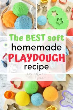 Easy playdough recipe - how to make the BEST soft play dough kids will LOVE. Plus it lasts a LONG time with these simple tips - find out how here: #playdough #playdoh #kidsfun