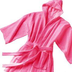 54f051f820 CHILDREN TERRY HOODED BATHROBE - BERRY Kids Robes