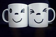 Couple Mug, Double Set Expression Mugs, Hand Painted Mug Cup, Gift Mug Cup