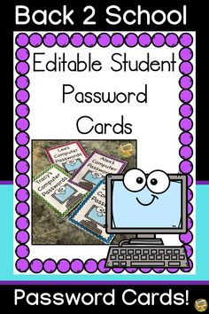 Editable Student Computer Password Cards!  Always having to look up a user name or password for a kid everytime you go to the computer? Kids interrupting you to ask for help with logging on?   NO MORE!  This file requires Powerpoint and totally editable! Simply type in their names and user/password for each program. Print them out and laminate them for a year FREE of the question.... What's my password?  The cards come in 8 different color choices and a printer-friendly version! Computer Password, Kids Computer, Classroom Games, Teacher Organization, Ask For Help, Going Back To School, Creative Crafts, Looking Up, Fun Activities