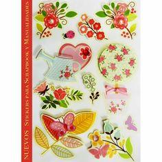 NUEVOS Stickers florales Clave: DJS 607 A,B,C,D  Para Manualidades y Scrapbook #stickers #scrapbook #manualidades #teayudamosacreartusideas #manualidadeselsultan