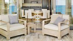 Amazingly Neat Villas Designs in British West Indies Coast: Posh Beige Neutral Wooden Dining Room Lounge Design