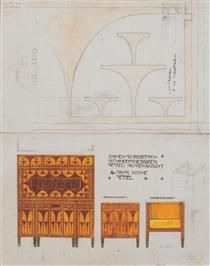 Draft drawings for the breakfast room of the apartment Eisler Terramare, ladies desk chair with retractable - Koloman Moser