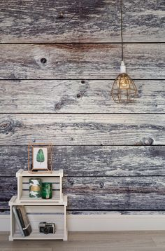 Get the rustic look in an instant with this wood effect wallpaper design. Combine with up-cycled furnishings and copper elements to complete the look.